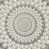 Pearls and diamonds jewels abstract spiral background pattern fractal. Pearls background, repetitive pattern. Abstract pearl backg. Round spiral pattern royalty free stock photo