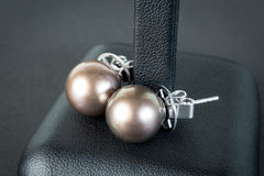 Pearls earrings Stock Photo