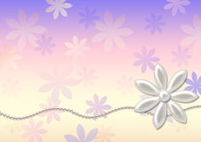 Pearls and flowers - background. Royalty Free Stock Photo