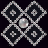 Pearls inlaid ornament in rhomb. Royalty Free Stock Photo