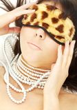 Pearls and leopard mask #2 Royalty Free Stock Images
