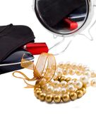 Pearls and makeup set Royalty Free Stock Image