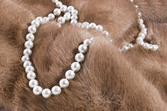 Pearls on Mink. Strand of pearls lying on a luxurious mink fur Stock Images