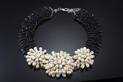 Pearls necklace with black crystals Royalty Free Stock Images