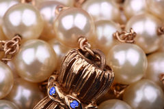 Pearls necklace extreme closeup Stock Photos