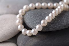 Pearls a necklace on stone. S stock photo