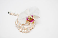 Pearls and Orchid Bud Royalty Free Stock Photography