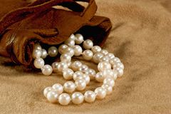 Pearls and Pouch Stock Image