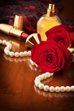 Pearls And Red Roses Royalty Free Stock Photos