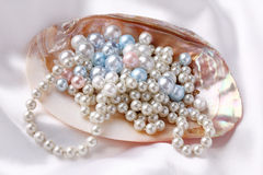 Pearls in a shell stock images