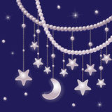 Pearls and shiny stars Stock Photo