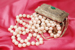 Pearls and silver Stock Image