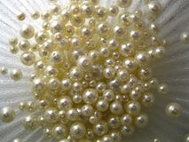 Pearls on a silvery background. stock image