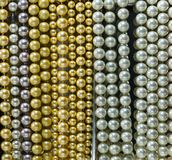 Pearls string necklace background Stock Photos
