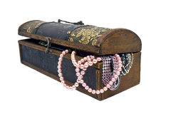 Pearls in treasure chest Stock Images