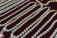 Pearls. White pearls necklaces Stock Images