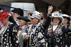 Pearly Kings. LONDON - SEPTEMBER 26: Pearly Kings And Queens And Mayors At The Pearly Kings And Queens Harvest Festival September 26th, 2010 In The City Of Royalty Free Stock Photo
