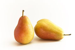 Pears. Two Pears, one upright and one lying stock photos