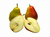Pears. Two whole and halved pears isolated on white studio background Stock Photography