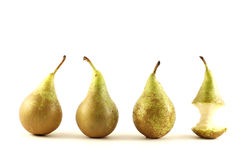 Pears. Green pears over white background stock photo