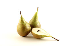 Pears. Green pears over white background stock image