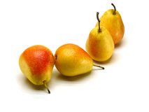 Pears. Some yellow ripe pears on a white background stock images