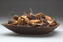 Pears. Dehydrated pears in a wooden bowl close up Stock Images