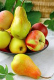 Pears. Beautiful ripe pears on a wooden table royalty free stock photos