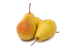 Pears. Two pears on white background royalty free stock photo