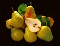 Pears. Studio shot of Pears bunched together stock photo