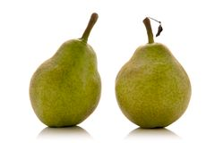 Pears. Green pears isolated over white background Stock Photos