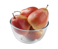Pears. Some red pears in the glass bowl Royalty Free Stock Image