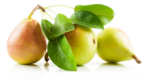 Pears. Three red-yellow pear  fruits with leaves  on a white background Stock Images