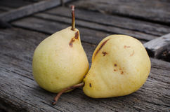Pears. Homegrown pears on wooden background Stock Image