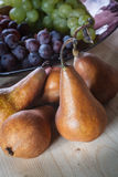 Pears. Bosc pears in front of a bowl of grape Royalty Free Stock Photos