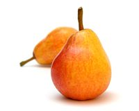 Pears 3. Two ripe juicy pears on the white background royalty free stock image