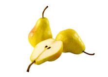 Pears. Whole and cut pears on white background Stock Photography