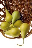 Pears. Basket of pears stock images