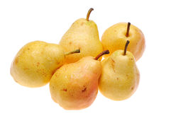 Pears. Group of pears on white background royalty free stock photo