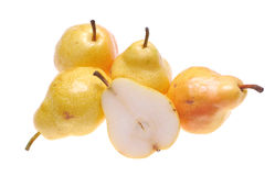Pears. Whole and cut pears on white background royalty free stock photos