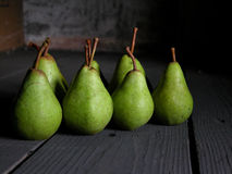 Pears. Green pears on the floor Stock Photo