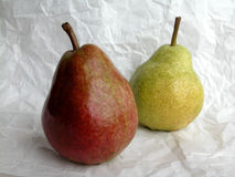 Pears. Two pears red and green Royalty Free Stock Photography