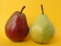 Pears. Two pears green and red Stock Photos