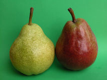 Pears. Two pears red and green Royalty Free Stock Photo