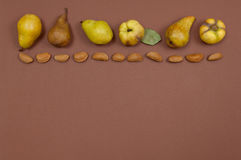 Pears and almonds row on yellow background with copy space Stock Image