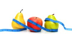 Pears and apple. Illustrating fruit dieting concept Royalty Free Stock Image