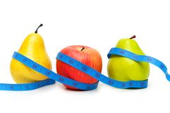 Pears and apple. Illustrating fruit dieting concept Royalty Free Stock Images