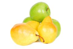 Pears and apples. Some yellow sweet pears and green apples isolated over white background Royalty Free Stock Photo