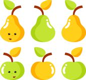 Pears and apples. Are green and yellow Stock Photos