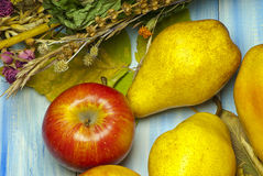 Pears, apples and autumn leaves Royalty Free Stock Photos